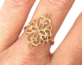Gold Ring, Flower Ring, Ethnic Ring, Oriental Ring, Heart Ring, Spiral Ring, Band Ring, Gold Plated Ring