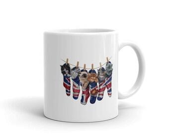 Cute Kittens in Union Jack Stocking, Cat - Mug