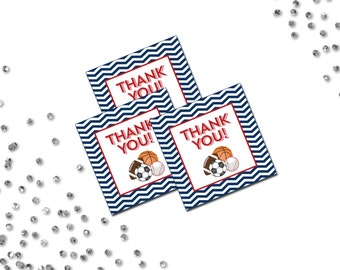 Favor Tags - All Star Sports Theme - Red and Blue - Small Chevron Stripes - INSTANT DOWNLOAD - Printable