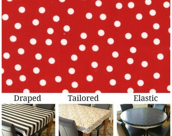 Laminated cotton aka oilcloth tablecloth custom size, fit choose elastic, tailored or draped Robert Kaufman Ruby Red Remix white polka dots