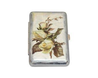 Rose Decorated Cigarette Case, Metal Cigarette Case, Cigarette Holder, Vintage Decoupage Cigarette Case, Cigarette Box, Business Card Holder