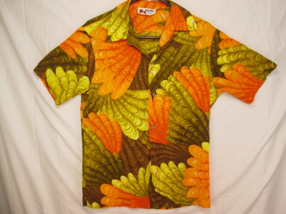 green brown fan Diamond feathered size circa shirt S Hawaiian head HOLO 60s collar matched loop vintage brilliant Kauai orange pocket HOLO vq0W8Pf