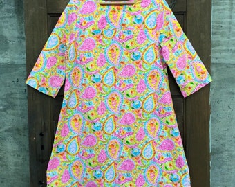 Vintage 70's Heart and Floral Paisley Print Lightweight Shift Dress Size Medium