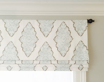 Mock roman shade valance.  Your choice of fabric (up to 10 dollars/yard) included!  Custom Sizing.  Premier Prints Monroe Snowy