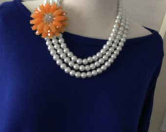 Bib Necklace, Pearl Necklace, Flower necklace, Multi stand necklace, Layered pearl and orange flower necklace, Gift for her, Summer necklace