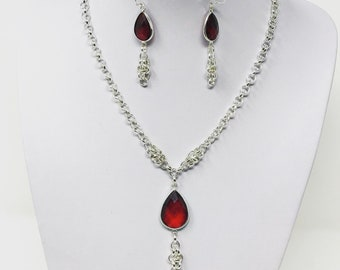 Dianora of Certando set, fantasy jewelry, silver chainmail