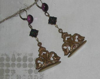 Earrings baroque vintage wicker basket