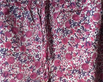 Ladies Pink Floral Pyjama Bottoms Indian Cotton