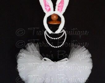 "Easter Tutu - White Bunny Tutu Set - White Tutu and Bunny Ears - 6"" Sewn Girls Tutu Skirt"