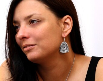 Bee Hive Earrings in English Pewter, Handmade, Gift Boxed (h-L)