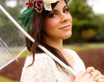 Paper Flower Crown, Flower Halo, Winter Wedding, Bridal Headpiece, Bridal Crown, Paper Flower Wreath, Boho Chic Wedding, Crepe Paper Flowers