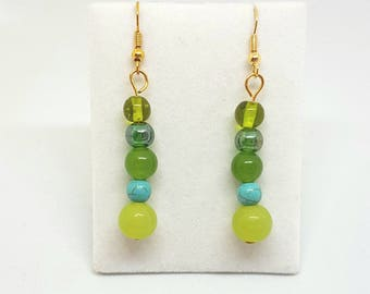 Green Beaded dangle earrings glass pearls and crystals gold jewellery