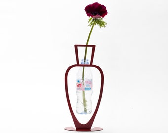 "Red Bottle Vase // Metal Designed Art // Unique Gift // Holding Recycled Plastic Bottles  // ""Primavera"" by ArtoriDesign"