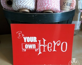 Be your own hero red • postcard