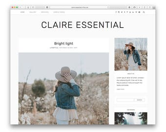 Claire Essential - Modern Wordpress Blog Theme - Responsive Design - Minimalist Fashion Photography Blog - Shop - Gallery - Customisable -