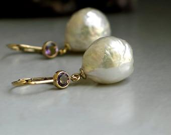 Baroque Drop Pearl Earrings | Ivory Kasumi Style Freshwater Pearl | Purple Amethyst Bezel 14K Gold Filled Leverback Dangles | Ready to Ship