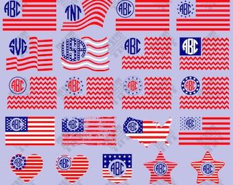 American flag monogram svg - American flag monogram digital clipart for Print, Design or more , files download svg, png, dxf