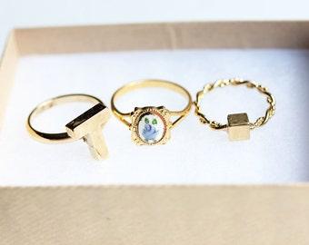 Rings Set of 3, You Choose, Ring Set, Gold Ring, Vintage Ring, Small Gold Ring, Gold Plated Ring, Set of Rings, Stacking Rings, Stacked Ring