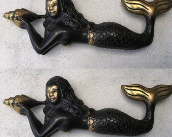 """2 small MERMAID solid brass aged heavy decoration stunning hand made statue 7"""" shell"""