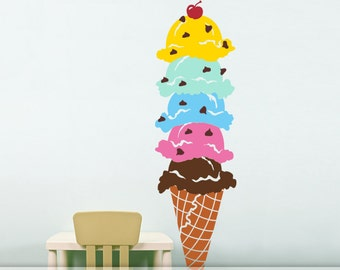 Amazing Ice Cream Party Decoration or Playroom Decal, Home Decor Vinyl Wall Decal (0176d14v)