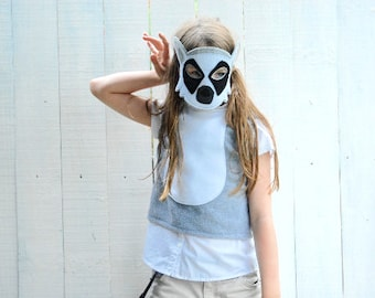 Lemur Costume - Felt Animal Mask, Tail, & Vest - Wool or Eco Felt