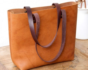 Camel Leather tote bag. Cap Sa Sal Bag with dark brown handles. Handmade.