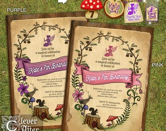 Enchanted Forest Invitation Enchanted Garden Invite fairy woods birthday, baby shower, bridal shower, debut whimsical printed invitations