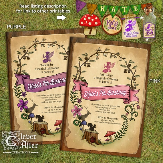Enchanted Forest Invitation Enchanted Garden Invite fairy