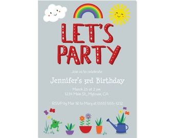 Printed Invitations - Let's Party Rainbows