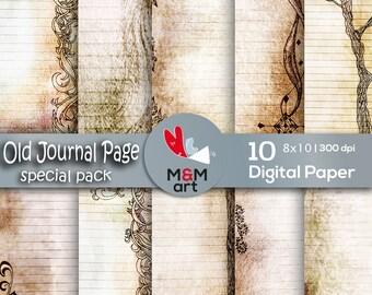 Prints Digital Old Journal Paper, Digital , Antique Paper , Old  Paper, Shabby Chic Floral, Vintage Printable Download Art 8x11  inches