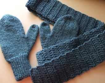 Handknit Mittens and Crocheted Scarf - Shades of Blue - for Women and Teens