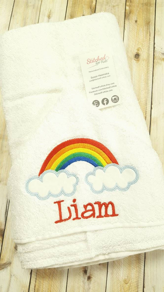 Personalized rainbow hooded towel custom rainbow baby shower personalized rainbow hooded towel custom rainbow baby shower rainbow baby gift after miscarriage gift negle Choice Image