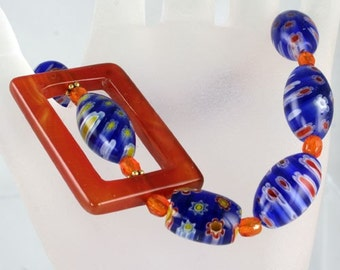 On Sale - Handmade Cobalt and Orange Lampwork Glass Bead Bracelet - Lucy