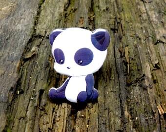 Panda brooch panda Kawai, pin Animal brooch animal jewelry , panda jewelry clay panda  clay pin cute panda, pretty panda.