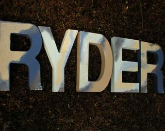 Boy Name Letters - Nursery Letters - Rustic Block Font - Girl Name Letters - Nursery Letters