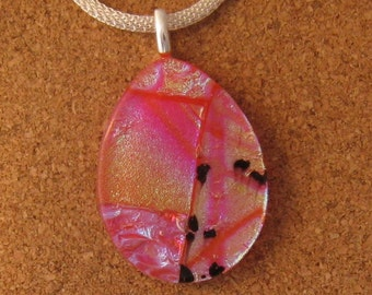 Orange Dichroic Pendant - Dichroic Jewelry - Dichroic Necklace - Fused Glass Pendant - Fused Glass Jewelry - Fused Glass Necklace