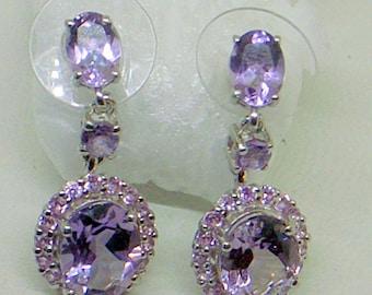 Sale Vintage Amethyst Earrings,Rose de France Amethysts,Sterling Silver,Vintage,Dangle Earrings SALE