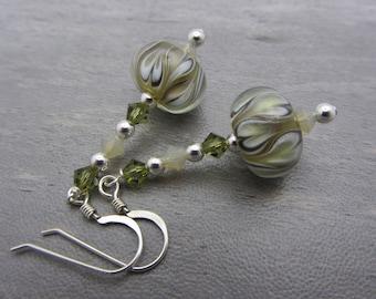 Lampwork Earrings Calla Lily Earrings Glass Bead Earrings Dangle Drop Earrings SRAJD USA Handmade