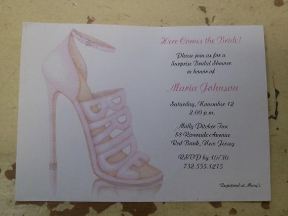 Bridal shower invitations shoe theme bridal shower bridal like this item filmwisefo Images