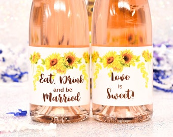 8 Wedding Mini Champagne Labels, Sunflowers Wedding Party Favor, Eat Drink Be Married Labels
