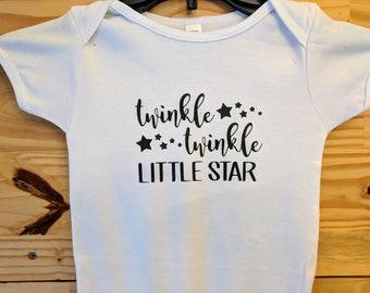 Twinkle Twinkle little Onsie!  White Onsie with Black Print! Super cute!
