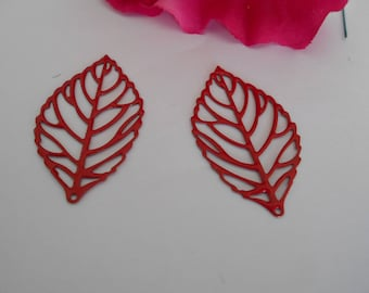 x 2 red leaf prints