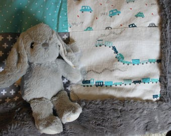 Toddler quilt, baby quilt, teal and grey with cars, trains, planes,  and cloudes. Minky, soft, luxe, grey, nursery decor.