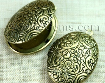 Lockets Oval Antique Brass Floral Victorian Style   -  LKOS-L3AB - 2pcs