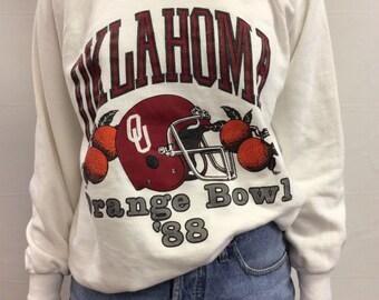 White Oklahoma Orange Bowl '88 Sweatshirt Size L