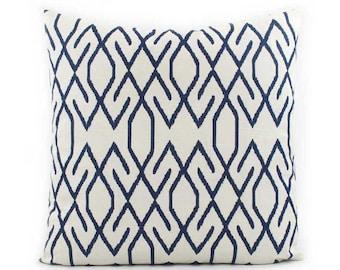 Dark Navy Pillow Cover 18x18, 20x20, 24x24 Euro or Lumbar, Blue Throw Pillow, Blue Cushion, Zig Zag Pillow, Accent Pillow, Lacefield Zoe