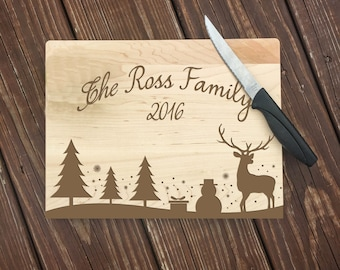 Christmas Gifts, Personalized Cutting Board, Holiday Decor, Holiday Signs, Cutting Board, Christmas Decorations, Engraved, Wedding Gifts