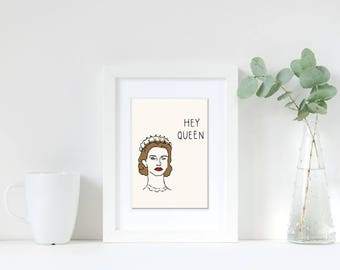 THE CROWN QUEEN, Queen Art Print, Gift for Her, Gift for Friend, Birthday Gift Her, Wall Art, Cheap Gift, Art Print Gay, Funny gay art,