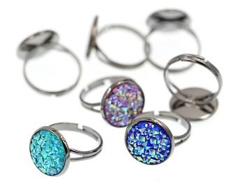 10PCS of 14mm Gunmetal Black Brass Ring Blanks, Ring Tray, Fully Adjustable Ring Blanks