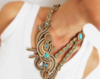 Ligt brown soutache statement necklace, earthy tones asymetric necklace, hazel soutache necklace, sandy brown soutache necklace, tan collar